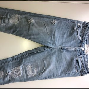 High waisted distressed super skinny jeans